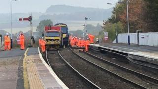 Re-railed train