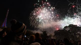 Crowds gather to watch fireworks during the 2018 Alexandra Palace Fireworks at Alexandra Palace on November 02, 2018