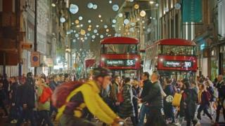 View of shoppers on Oxford Street