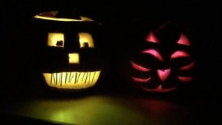 Halloween pumpkins, pets and painted faces