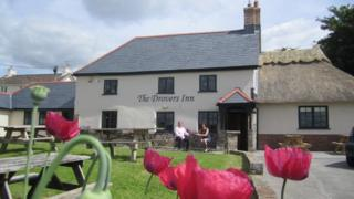 Stephen and Barbara Aldred outside The Drovers Inn