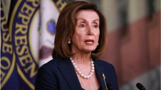 Speaker of the House, Nancy Pelosi speaks during her weekly news conference on Capitol Hill
