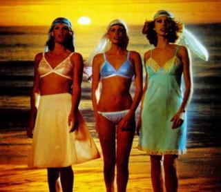 Three women modelling underwear