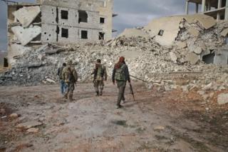 İdlib'deki Ulusal Kurtuluş Cephesi savaşçıları