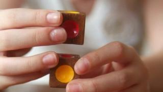 autistic child building blocks