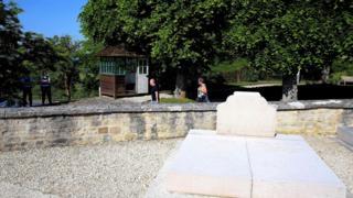 The vandalised tomb
