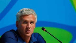 Ryan Lochte at a media conference during the Rio Olympics