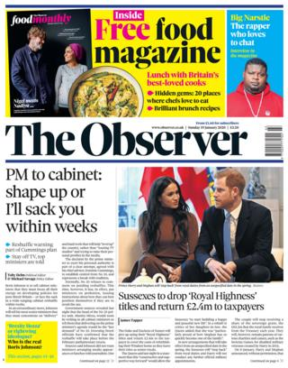 The Observer front page 19/01/20