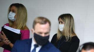 White House staff members wearing masks, 11 May 2020
