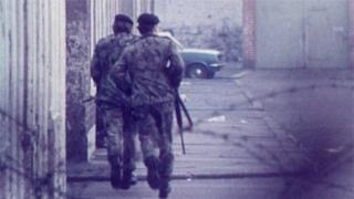 Soldiers on patrol in Northern Ireland during the Troubles