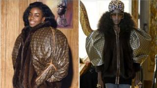 古驰2018泡泡袖皮草夹克,被控抄袭1989年黑人艺术家Dapper Dan为奥运选手Diane Dixon设计的路易威登外套。