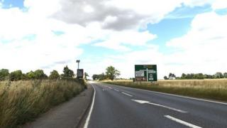 The A140 at Stoke Ash