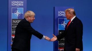 Boris Johnson greeting Donald Trump at the Nato summit in Watford