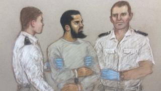 A court sketch of Khalid Mohamed Omar Ali