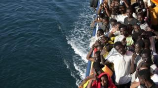 Migrants from north Africa at Trapani harbour, Southern Italy (20 August 2016)