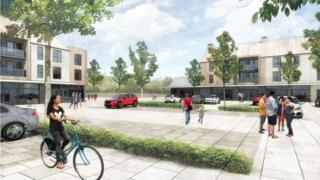 Artist's impression of how the new retail centre and public square would look