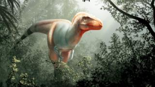 An artist's impression of Thanatotheristes degrootorum, a newly-discovered species of Tyrannosaurus rex