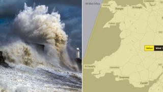 Two images showing map of Wales and wave crashing into sea defences in Porthcawl