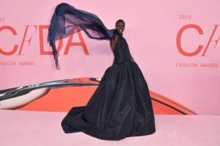 Model Alek Wek arrives at the 2019 CFDA fashion awards in New York City on 3 June.