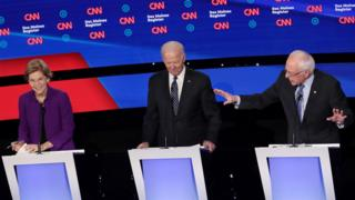 Warren, Biden and Sanders