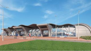 Artist impression of train station