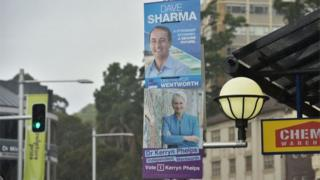 Campaign posters ahead of the Wentworth by-election 2018
