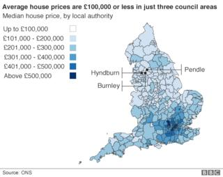 Heat map of average house prices in England