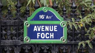 A street sign of the Avenue Foch in the 16th sub-district of Paris (file photo)