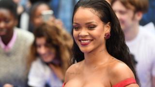 Rihanna smiling to camera