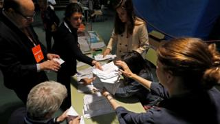 Members of an electoral commission count voting ballots during Spain's general election at a polling station in Madrid, Spain, April 28