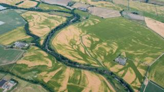 Ancient water courses in field