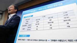 성윤모 산업통상자원부 장관이 12일 정부세종청사 산자부 기자실에서 전략물자 수출입고시 개정 관련 브리핑을 하고 있다