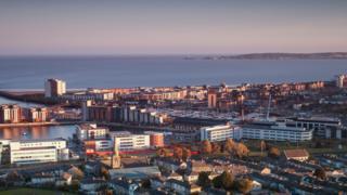 Swansea city centre and marina