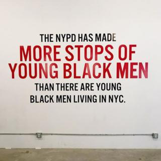 Screenshot from ACLU instagram page: NYPD has made more stops of young black men than there are young black men living in NYC.