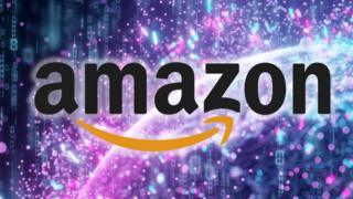 "Amazon logo seen against a brightly coloured ""data stream"" abstract concept"