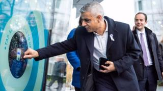 Mayor of London Sadiq Khan at a payment point