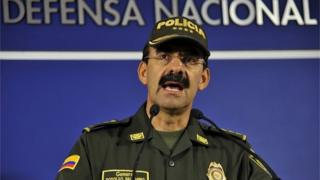 The National Police general director of Colombia Rodolfo Palomino speaks during a press conference in Bogota, Colombia, on September 24, 2015.