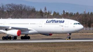 Lufthansa aircraft parked at Frankfurt Airport