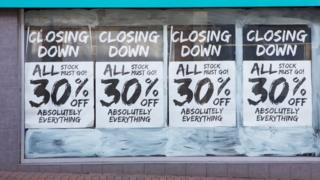 Closing signs on shop