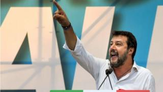 Matteo Salvini gestures as he speaks during a rally of Italy's far-right League party earlier this month