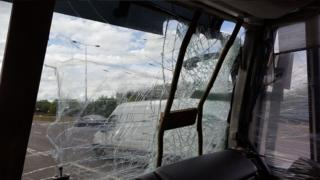 Damaged lorry windscreen