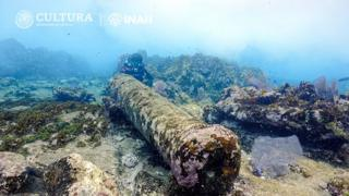 View of the cannon of a shipwreck discovered off the coast of Mexico