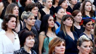 Sofia Boutella, Salma Hayek and Patty Jenkins pose on the red carpet during the 71st annual Cannes Film Festival on 12 May 2018 in Cannes, France