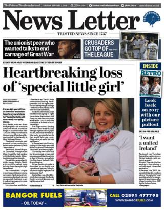 The front page of the News Letter on Tuesday