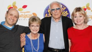 Paris Themmen (Mike Teevee), Denise Nickerson (Violet Beauregarde), Mel Stuart and Julie Dawn Cole (Veruca Salt) at the 40th anniversary of Willy Wonka & The Chocolate Factory