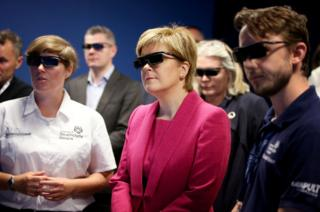 Scotland's First Minister Nicola Sturgeon wearing 3D glasses