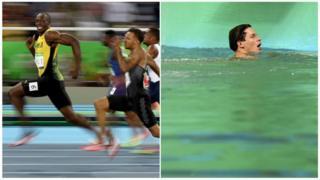 Usain Bolt consagrado e piscina verde
