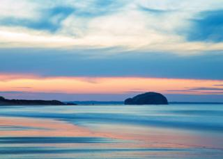 Bass Rock from Limetree Walk beach in East Lothian as the sun was setting on Sunday evening, taken by Craig Newton
