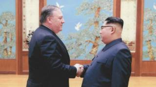Mr Pompeo shakes hands with Mr Kim