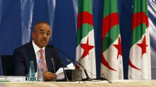 Algerian Interior Minister Noureddine Bedoui announces results of parliamentary elections in Algiers 5 May 2017.